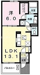 JR山陽本線 瀬戸駅 3.6kmの賃貸アパート 1階1LDKの間取り