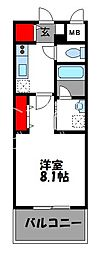CINQ IWASE BLD 9階1Kの間取り