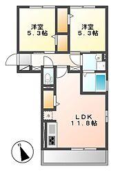D−room横堀町 A棟[2階]の間取り