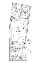 東武亀戸線 亀戸水神駅 徒歩8分の賃貸マンション 9階1Kの間取り