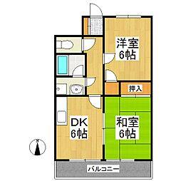 福岡県久留米市宮ノ陣4丁目の賃貸アパートの間取り