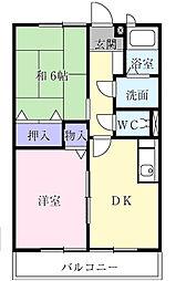 千葉県大網白里市みずほ台1の賃貸アパートの間取り