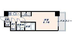 アドバンス大阪フェリシア 10階1Kの間取り