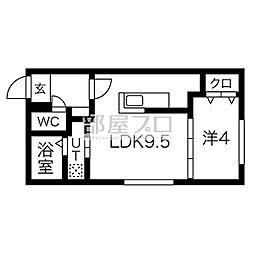 ル・ヌアージュ豊平 4階1LDKの間取り