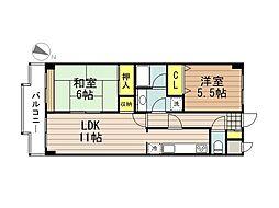 JR武蔵野線 西浦和駅 徒歩8分の賃貸マンション 2階2LDKの間取り