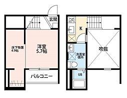 愛知県名古屋市中村区猪之越町1丁目の賃貸アパートの間取り