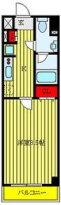 間取り,1K,面積25.05m2,賃料7.6万円,東武東上線 東武練馬駅 徒歩5分,東武東上線 上板橋駅 徒歩19分,東京都板橋区徳丸1丁目30-3