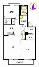 福岡県中間市岩瀬西町の賃貸アパートの間取り