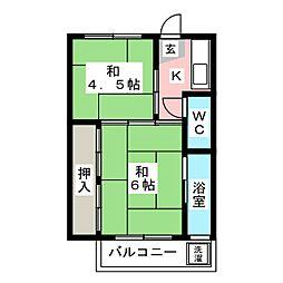 ビレッジハウス茂呂1号棟[1階]の間取り