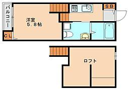 リーフレスト 2階ワンルームの間取り