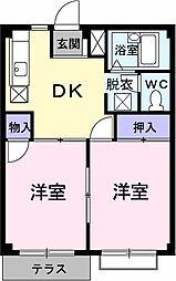 埼玉県春日部市上蛭田の賃貸アパートの間取り
