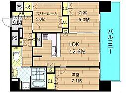 リーガル靭本町 14階3LDKの間取り