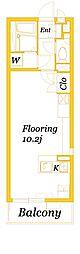 JR横須賀線 新川崎駅 徒歩20分の賃貸マンション 3階ワンルームの間取り