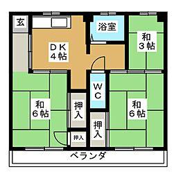 ビレッジハウス新開 2号棟[4階]の間取り