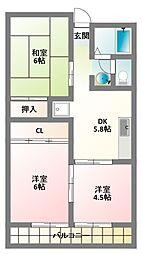 京阪本線 大和田駅 徒歩20分の賃貸マンション 2階3DKの間取り
