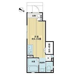ドマーニ・キアロ笹塚 1階ワンルームの間取り