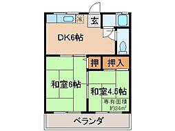 京都府京都市伏見区醍醐槇ノ内町の賃貸アパートの間取り