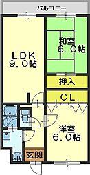 エタージュ高井田[206号室]の間取り
