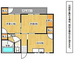 福岡県北九州市戸畑区牧山新町の賃貸マンションの間取り