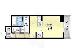 京阪本線 牧野駅 徒歩4分の賃貸マンション 7階ワンルームの間取り