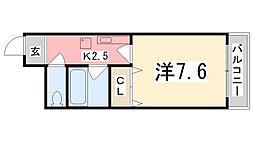 兵庫県姫路市下手野1丁目の賃貸マンションの間取り