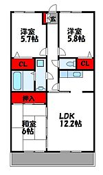 JR鹿児島本線 千鳥駅 徒歩2分の賃貸マンション 4階3LDKの間取り