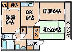 広島県広島市安芸区上瀬野1丁目の賃貸アパートの間取り