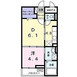 JR片町線(学研都市線) 藤阪駅 徒歩5分の賃貸マンション 1階1DKの間取り