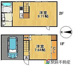 JR久大本線 久留米大学前駅 徒歩15分の賃貸アパート 2階1LDKの間取り