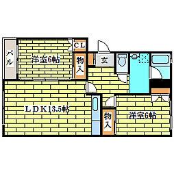 三高コーポ[1階]の間取り