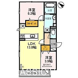 大阪府堺市北区百舌鳥陵南町3丁の賃貸アパートの間取り