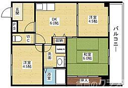 Osaka Metro今里筋線 瑞光四丁目駅 徒歩5分の賃貸マンション 4階3DKの間取り