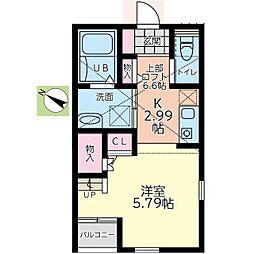 小田急小田原線 小田急相模原駅 徒歩25分の賃貸アパート 2階1Kの間取り