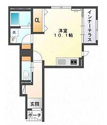 広島高速交通アストラムライン 安東駅 徒歩10分の賃貸アパート 1階ワンルームの間取り