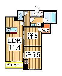 仮)柏の葉ホテルライクシャーメゾン 2階2LDKの間取り