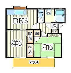 エコーハイツII[1階]の間取り