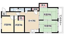 愛知県名古屋市天白区大根町の賃貸マンションの間取り