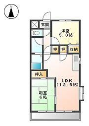 メゾンドオオモリ[3階]の間取り