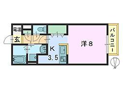 奈良県大和郡山市今井町の賃貸アパートの間取り