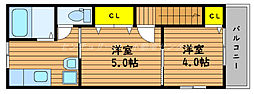 JR山陽本線 岡山駅 徒歩11分の賃貸アパート 2階1Kの間取り