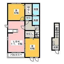 リアンジェII[2階]の間取り