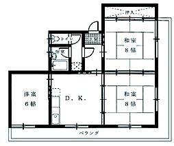 押川コーポ[3DK号室]の間取り