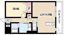 ディアコートK VII 2階1LDKの間取り