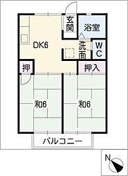 パークハイツB棟[2階]の間取り