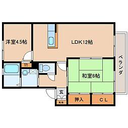 奈良県香芝市高山台1丁目の賃貸アパートの間取り