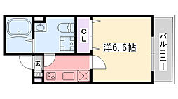 阪神本線 鳴尾・武庫川女子大前駅 徒歩6分の賃貸アパート 2階1Kの間取り