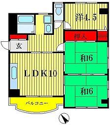 戸ヶ崎ロイヤルハイツ[1階]の間取り