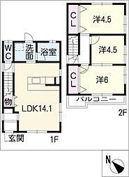 [一戸建] 愛知県名古屋市天白区荒池2丁目 の賃貸【/】の間取り