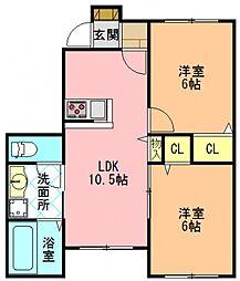 奈良県香芝市下田西1丁目の賃貸アパートの間取り