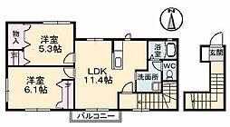 愛媛県松山市御幸2丁目の賃貸アパートの間取り